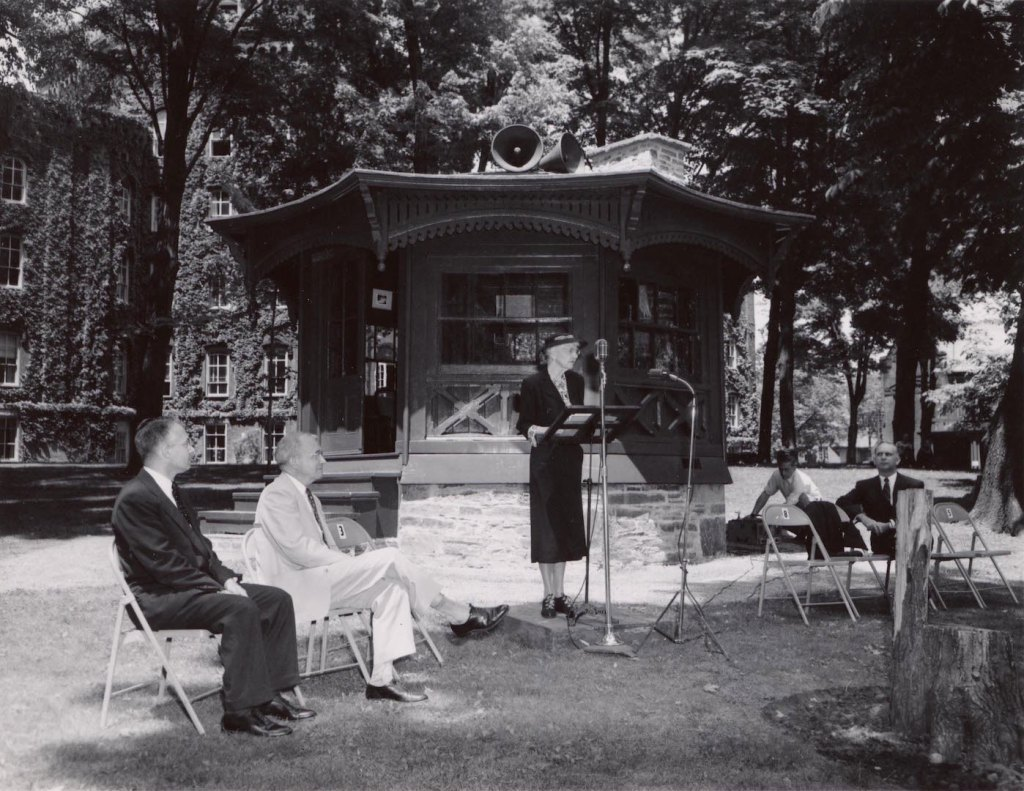 The Study was officially dedicated to Elmira College by Mark Twain's niece, Dr. Ida Langdon on June 9, 1952. Dr. Langdon, a longtime English professor at the college, stands in the center, while President of Elmira College Dr. Lewis Eldred sits at the far left, and President of the Elmira College Board of Trustees Charles Perry sits at the far right.