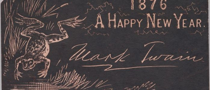 mark twain wishes a happy new year with 1876 postcard