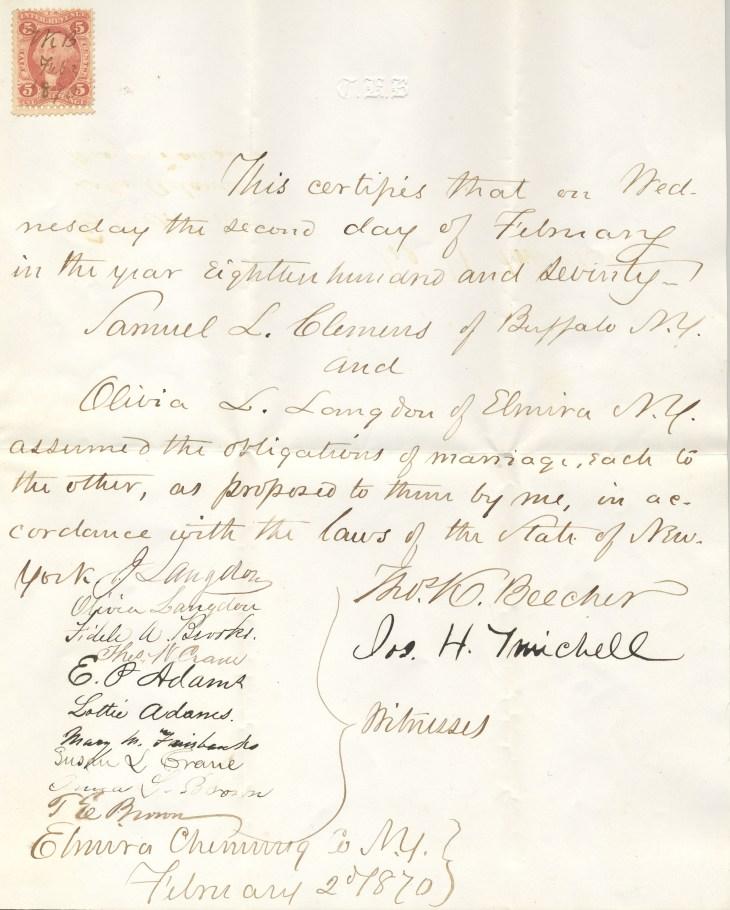 Samuel & Olivia Clemens Marriage Certificate