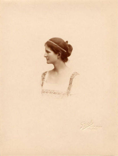 Profile portrait of Jean Clemens, Samuel and Olivia Clemens youngest daughter.
