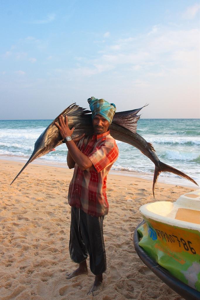 Fisherman with Sailfish, Sri Lanka