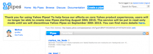 Screenshots Ende Yahoo Pipes