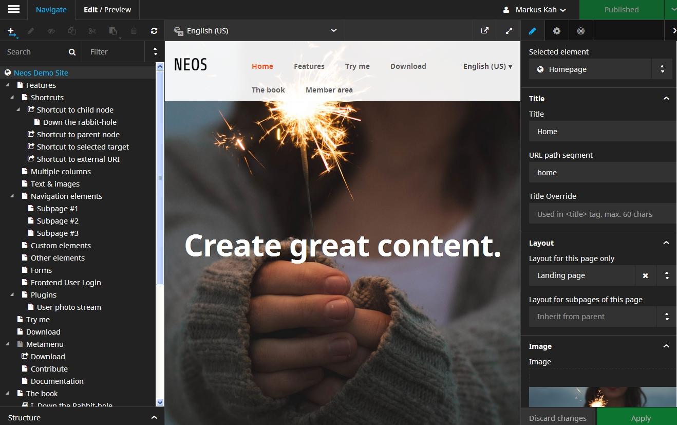generate great content - Screenshot von Neos 2.0