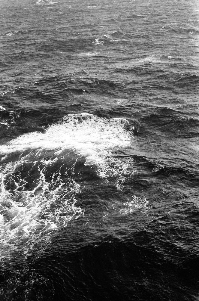 Black and white film waves