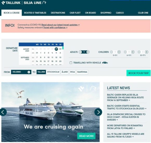 tallink screenshot example country site, manual URL redirection