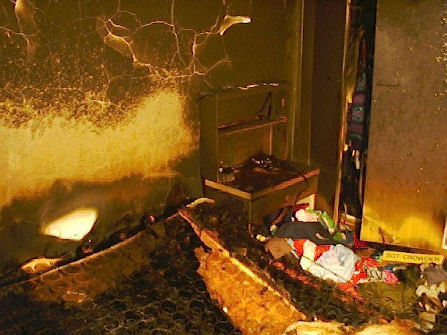Ausgebranntes Schlafzimmer