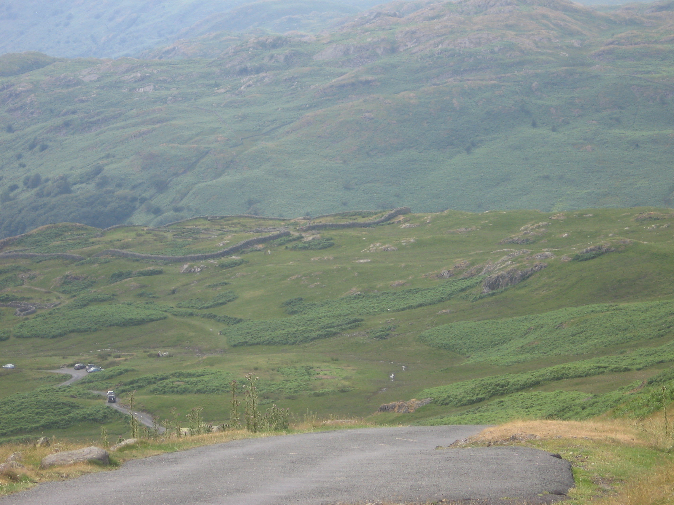 Hardknott Pass with fort