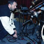Tom Guralnick & his Mobile Saxophone & Mute Unit -- April 8, 1997 -- photo by Mark Weber