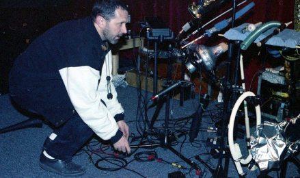 Tom Guralnick & his Mobile Saxophone & Mute Unit -- April 8, 1997 -- photo by Mark Weber