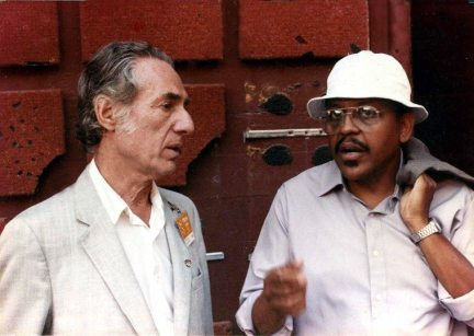 Leonard Feather & Bobby Bradford backstage at John Anson Ford Amphitheatre -- photographer unknown