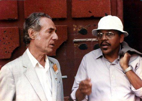 Leonard Feather & Bobby Bradford backstage at John Anson Ford Amphitheatre -- photographer unknown