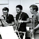 Recording session with Spontaneous Music Ensemble -- London, England -- July 9, 1971 -- Trevor Watts, alto saxophone; Bobby Bradford, trumpet; Bob Norden, trombone -- photo by Jak Kilby -- from the collection of Bobby Bradford