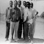"Bobby and friends in Texas -- Fall 1951 -- Bunky Johnson, Bobby Bradford, Charles ""Brother Bear"" Stiles, Charles Blair, Herbie K. Johnson, and Highpocket -- from the collection of Bobby Bradford"