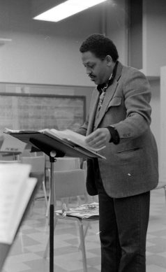 Bradford conducting a classroom ensemble at Thatcher Music Building, Pomona College, Claremont, California -- 1979 -- photo by Mark Weber