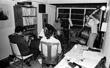 Mo'tet in rehearsal at Bobby's in Altadena, California -- February 12, 1977 -- Bert Karl, drums; Noah Young, bass; Glenn Ferris, trombone; Bobby Bradford, cornet -- photo by Mark Weber