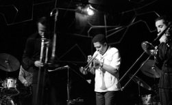 Ghost trombonist & Bobby Bradford & Glenn Ferris -- April 1, 1980 -- photo by Mark Weber (double-image by Cal Haines)