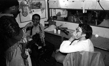 Bobby Bradford and Charlie Haden backstage at Century City Playhouse -- February 17, 1980 -- photo by Mark Weber