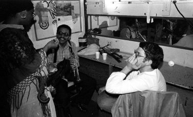 Bobby Bradford and Charlie Haden backstage at Century City Playhouse -- February 17, 1980 -- photo by Mark Weber