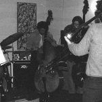 Sunday afternoon jam session at The Little Big Horn -- November 28, 1976 -- Glenn Ferris, trombone (his back to camera); Bobby Bradford, cornet; Roberto Miranda & Richard Rehwald, basses; Vinny Golia, bass clarinet; James Newton, flute; John Carter, soprano sax & clarinet -- photo by Mark Weber