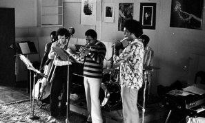 Bobby Bradford Extet -- September 5, 1976 -- Little Big Horn -- Henry Franklin, bass; James Newton, flute; John Goldsmith, drums; Bobby Bradford, cornet; Glenn Ferris, trombone -- photo by Mark Weber