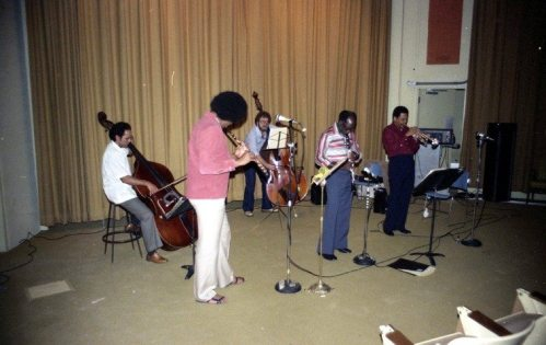 Bobby Bradford-John Carter Quintet - Avery Auditorium, Pitzer College, Claremont -- October 27, 1980 -- James Newton, flute; Noah Young & Roberto Miranda, basses; John Carter, clarinet; Bobby Bradford, cornet -- photo by Mark Weber