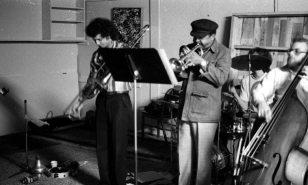 Glenn Ferris, trombone; Bobby Bradford, cornet; Kim Calkins, drums; Kevin Brandon, bass -- Little Big Horn -- December 19, 1976 -- photo by Mark Weber