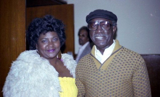 "Melba Joyce and John Carter -- March 20, 1983 -- at the Local 47 Musician's Union, Los Angeles -- ""Dolo Coker Love In"" (Dolo was afflicted with cancer) -- Melba was Bobby Bradford's first wife, she sang one song on John's album ECHOES OF RUDOLPH'S -- photo by Mark Weber"