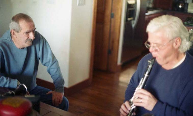 Kenny Davern & Bill Payne afternoon clarinet session at Kenny & Elsa's place in Sandia Park, New Mexico -- December 16, 2005 -- my band The Mark Weber Poetry Band had just performed the night before at the Outpost (MWPB: Bill Payne, William Roper, Michael Vlatkovich, and me) and Kenny & Elsa were there and Kenny was knocked out by Bill, a total absolute deep-grain clarinet player, and so the next day was set aside for them to get together and trade ideas -- one of the clarinets on the table is Pee Wee Russell's -- photo by Mark Weber