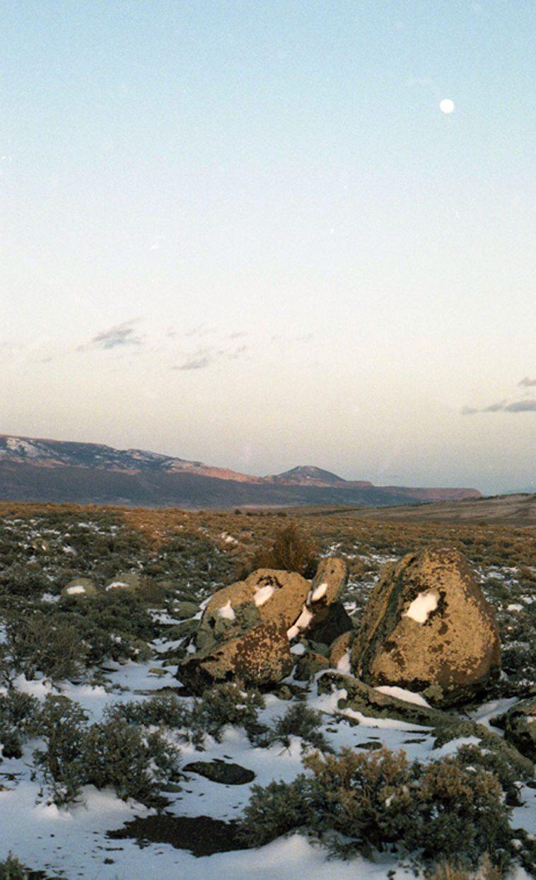 Evening & moon -- Awapu Plateau, Utah -- April 26, 1991 -- photo by Mark Weber