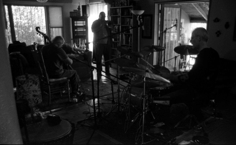 Clyde Reed, bass; Michael Vlatkovich, trombone; Dave Wayne, drumset -- September 22, 2o12 Santa Fe -- photo by Mark Weber