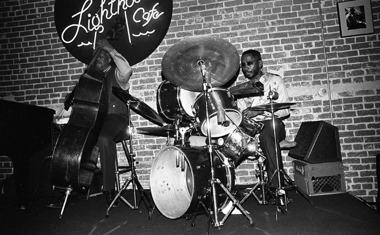 Check out Donald Bailey's trap set ----  Lighthouse Cafe, Hermosa Beach, California -- December 3, 1981 -- with the Joe Albany Quartet:  Leroy Vinnegar, bass; Jimmy Knepper, trombone ----photo by Mark Weber