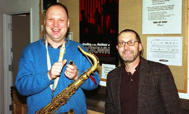 """Toby Delius and Tom Guralnick -- March 17, 2003 -- (that movie Standing in the Shadows of Motown  is a knock-out -- Joan Osborne slays me with """"Heat Wave"""" and """"What Becomes of the Broken Hearted?"""" as well, Me'Shell Ndegeocello, Ben Harper, Chaka Khan, killer, and Bootsy Collins, a riot) -- photo by Mark Weber"""
