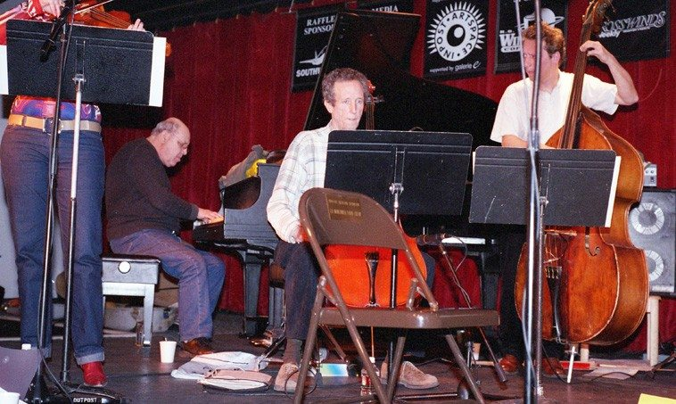 Mary Oliver, viola; Misha Mengelberg, piano; Tristan Honsinger, cello; Ernst Glerum, bass -- soundcheck -- Outpost Performance Space, Albuquerque -- March 17, 2003 -- photo by Mark Weber