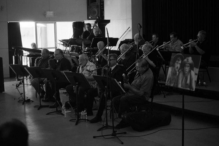 The Jazz Wave under the direction of Lanny Morgan -- May 31, 2o14 -- photo by Mark Weber -- more from the Med Flory Memorial in a forthcoming post -- Note the photo on stage with two cowpokes:  that's Med on the right probably from Bonanza tv series