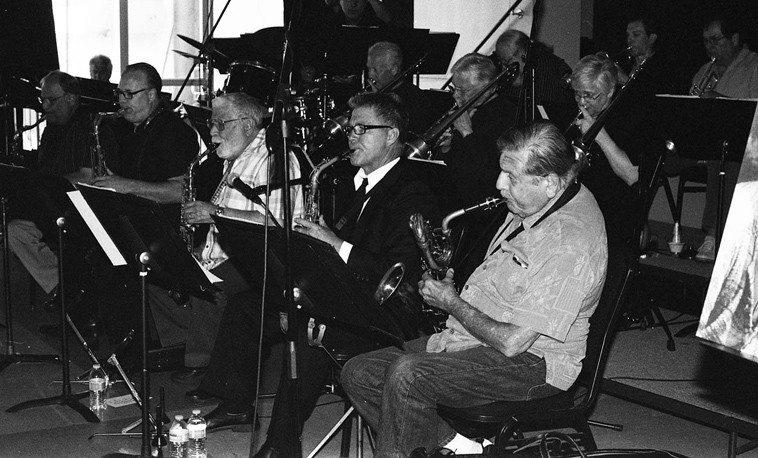 Gene Cipriano holding down the bottom on baritone saxophone in Med Flory's big band, The Jazz Wave, under the direction of Lanny Morgan -- May 31, 2o14 -- Med Flory Memorial at Musician's Union Local 47, Hollywood, California -- photo by Mark Weber --------   Trumpets: Ron Stout, Pete De Ciena, Bob O'Donnell, Bob Summers ---- Trombones: Andy Martin, Charlie Loper, Scott Whitfield ----- Saxes: Roger Neumann, Doug Webb, Lanny Morgan, Danny House, Gene Cipriano ---- Rhythm: Tom Rainer (piano), Kevin Axt (bass), Paul Kreibich (drums)