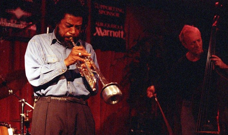 Leo Smith with What We Live @ Outpost Performance Space, Albuquerque -- March 22, 1998 --  Lisle Ellis, bass; Larry Ochs, reeds; Donald Robinson, drums ---- photo by Mark Weber