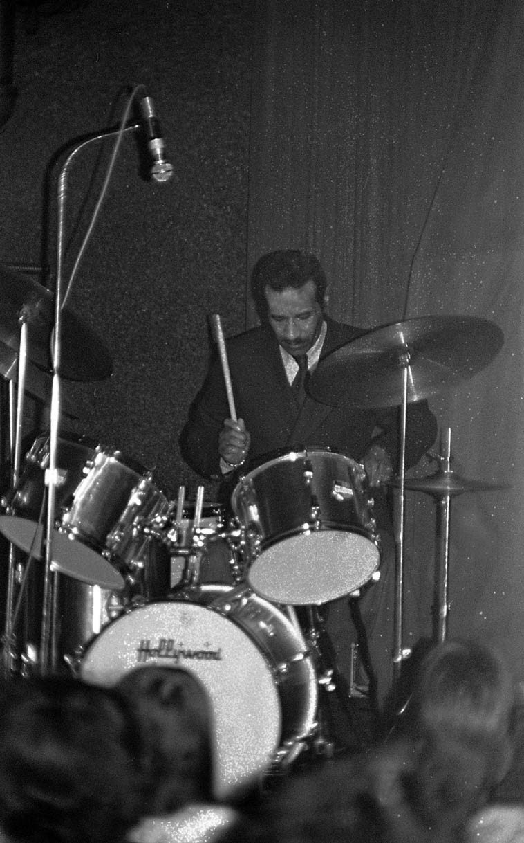 """Max Roach during his solo concert piece """"South Africa '76"""" --- January 8, 1977 -- photo by Mark Weber ---- I remember this solo being something like ten-minutes long and something you never forget"""