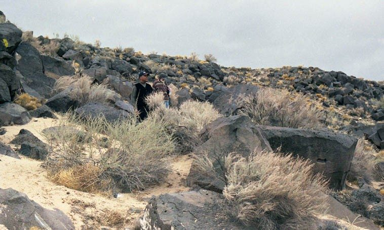 John Betsch & Roswell Rudd with petroglyphs ----- March 20, 2000 --- photo by Mark Weber