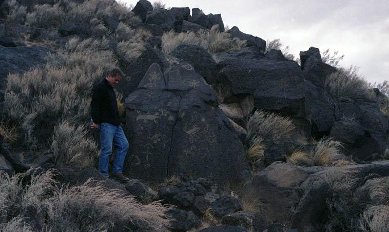 Jean-Jacques Avenel at Piedras Marcadas, West Mesa, Albuquerque -- March 20, 2000 -- photo by Mark Weber