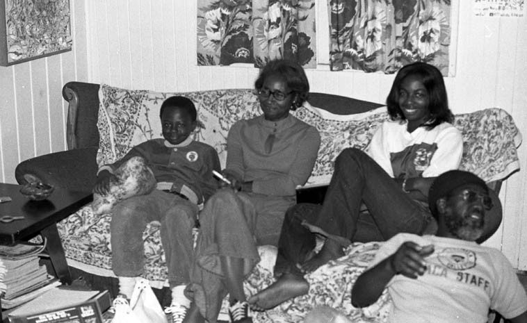 John Carter family visit my home in the alley (400 1/2 Laurel Avenue, Upland) -- young Chris, wife  Gloria, and daughter Karen, and John sitting on floor talking cars with my brother Brian (out  of the frame) -- October 23, 1976 -- photo by Mark Weber