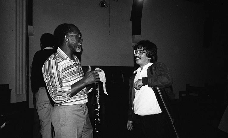 John Carter & Gerald Oshita -- February 13, 1981 during the New Jazz Festival at the New College in San Francisco, produced by trumpeter-educator George Sams -- photo by Mark Weber -- If anyone finds the recordings of poet Anne Sexton & Her Kind I'd sure like to hear them, Gerald played woodwinds in that group