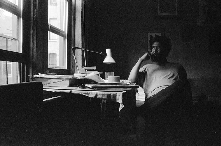 Mid-afternoon of a composer: Butch Morris at his desk -- 219 E. 7th Street # 5, Lower East  Side NYC -- July 1, 1997 ----- photo by Mark Weber -- we talked all afternoon about music  and mostly about conduction and also how he wished he had met Leonard Bernstein