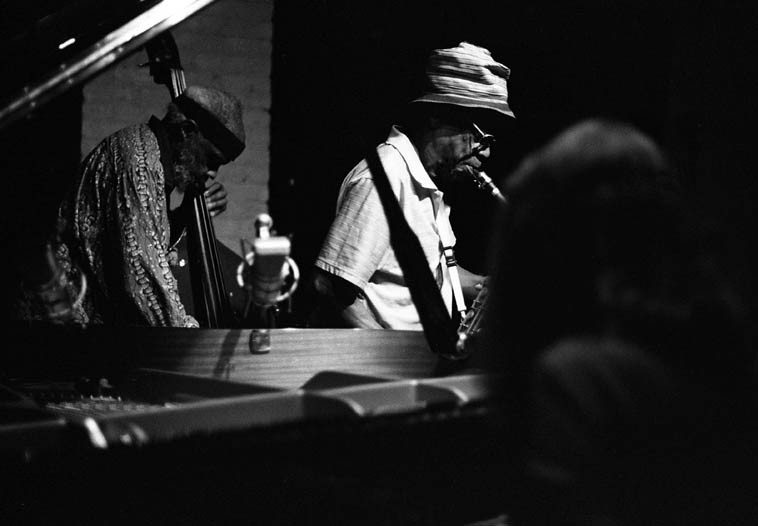Henry Grimes, Jameel Moondoc, Connie Crothers in trio -- August 20, 2o14 -- photo by Mark Weber