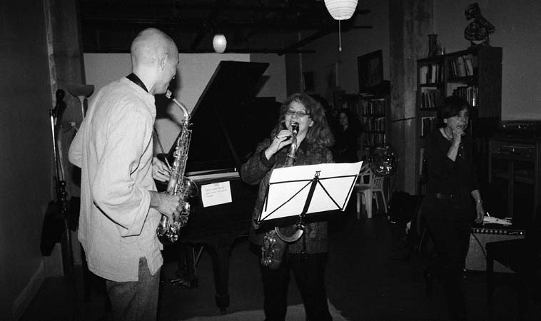 Gleb Vascenko, alto saxophone; Lena Bloch, tenor saxophone -- Bach 2-part inventions -- November 16, 2o14 -- photo by Mark Weber ----- Lena is visiting from Russia and staying as long as she can