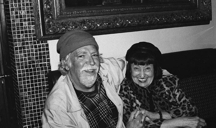 """Me & Sheila Jordan in a little restaurant around the corner from her apartment -- The Dish, 201 Eighth Avenue (between 20th & 21st) ---- First thing off the plane I called Sheila and told her that I'll never be  able to get from LaGuardia to her place in time for our dinner engagement at 6 -- No problem, she  had a radio interview to do at 7:30 and I could come after that -- And when I got to her place, her  roommate Jay Clayton was in the midst of one of her Scat Labs and I got to watch 6 or 7 scatters  do their stuff on """"What Is This Thing"""" and Sheila even joined in in spots!  It was tremendous -- November 12, 2o14 -- photo by our waiter, under my direction (these youngsters know nothing about antique cameras!)"""