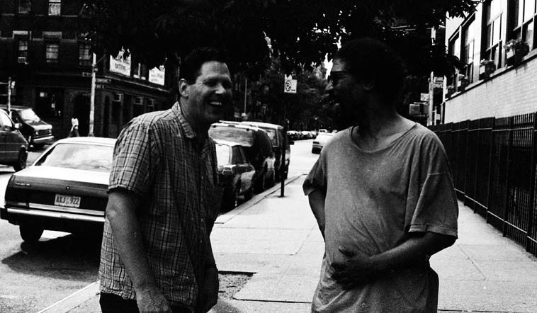 Bruce Ackley and Butch Morris on 7th Street NYC -- July 1, 1997 -- photo by Mark Weber ----  Bruce was in town for a concert with ROVA