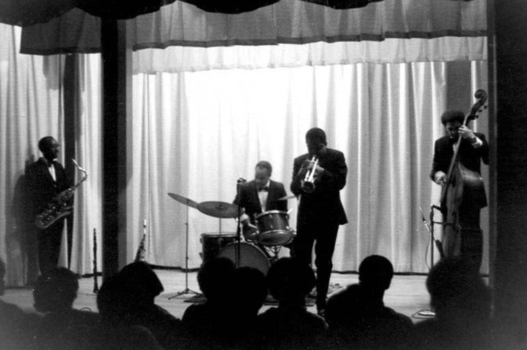The New Art Jazz Ensemble circa 1968 -- John Carter, saxophone; Bobby Bradford, trumpet; Bruz Freeman, drums, Tom Williamson, bass ---- photographer unknown -- from the collection  of Bobby Bradford ----- Tom got away from us March 2  (his memorial service is today -- March 14 in Diamond Bar, California -- BB & Lisa attending)
