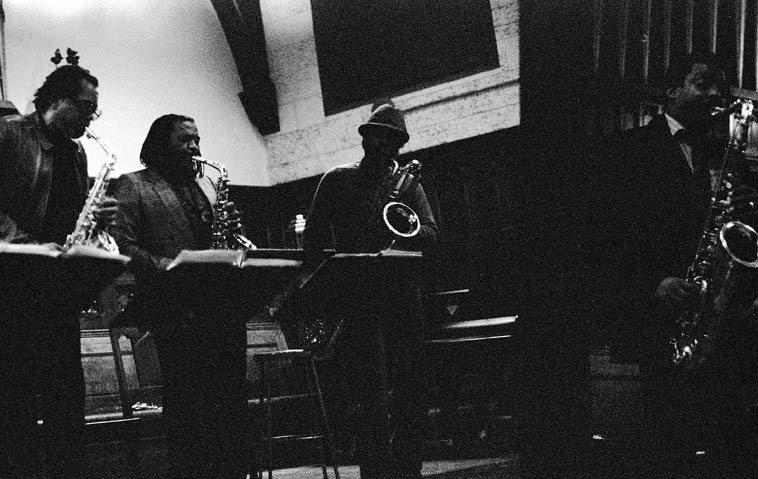 World Saxophone Quartet: Julius Hemphill, Oliver Lake, Hamiet Bluiett, David Murray -- Harkness Chapel, Case Western Reserve University, Cleveland -- November 4, 1986 -- photo by Mark Weber