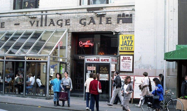 So much music has taken place at The Village Gate (corner of Thompson & Bleecker Street) since it opened in 1958 it's staggering -- photo by Mark Weber -- March 7, 1987 Greenwich Village ---- this location closed  in 1993 ---- I believe we have some live sets of Mingus from the Gate we can listen to