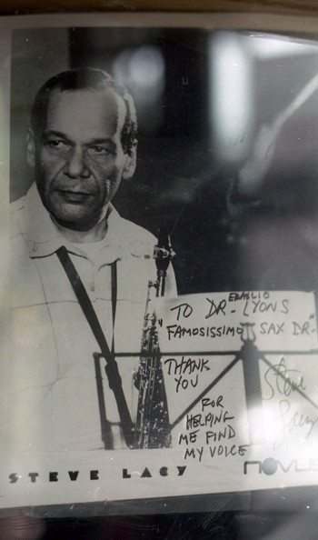 Window display at Rayburn Music Store, 263 Huntington Avenue, Boston (this is renowned  sax repairman Emilio Lyons' shop) -- August 6, 1998 -- photo by Mark Weber